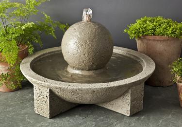 M-Series Sphere Fountain - Material : Cast Stone - Finish : Alpine Stone