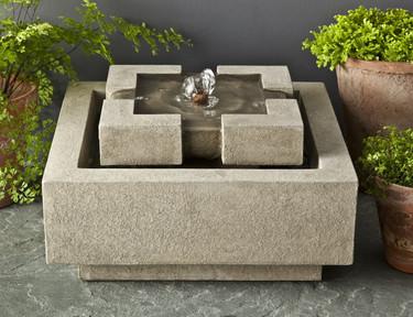 M-Series Escala Fountain - Material : Cast Stone - Finish : Greystone