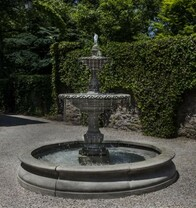 Charleston Fountain in Basin - FT-257 - Material : Cast Stone - Finish : Alpine Stone