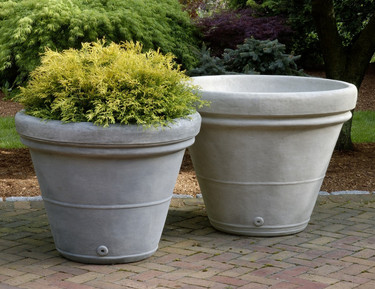 Estate Rolled Rim Planter - Material : Cast Stone - Finishes : Medium(Greystone) Large(Verde)