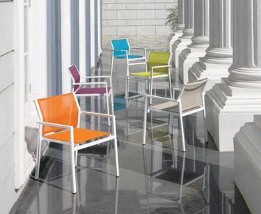 ALLUX stackable dining armchairs in various colors