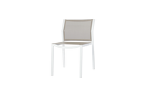 ALLUX Stackable Dining Side Chair - Powder-Coated Aluminum (white), Batyline Mesh Sling Seat/Back (light taupe)