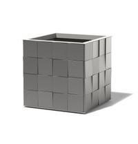 3D Aluminum Cube Planter - Material : Aluminum - Finish : Charcoal Grey