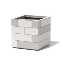 Aluminum Tile Cube Planter - Material : Aluminum - Finish : Shell - Linen White, Tiles : Tonal Greys