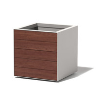 Facade - Cladded on 2 sides : Material : Aluminum, Thermally Modified Wood : Finish : Linen, Maple