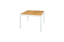 "ALLUX Dining Table 39.5"" x 39.5"" - Powder-Coat Aluminum (white), Plantation Teak Straight Slats (smooth sanded)"