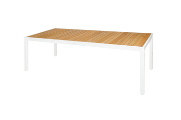 "ALLUX Dining Table 86.5"" x 39.5"" - Powder-Coat Aluminum (white), Plantation Teak Straight Slats (smooth sanded)"