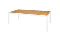 "ALLUX Dining Table 86.5"" x 39.5"" - Powder-Coat Aluminum (white), Plantation Teak Straight Slats (smooth sanded)"