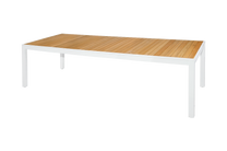 "ALLUX Dining Table 106"" x 39"" - Powder-Coat Aluminum (white), Plantation Teak Straight Slats (smooth sanded)"