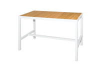 "ALLUX 59"" x 31.5"" Bar Table with Teak Top  - Powder-Coat Aluminum (white), Plantation Teak Straight Slats (smooth sanded)"
