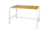 "ALLUX 59"" x 31.5"" Bar Table with Teak Top - Powder-Coat Aluminum (white), Plantation Teak Abstract Slats (smooth sanded)"