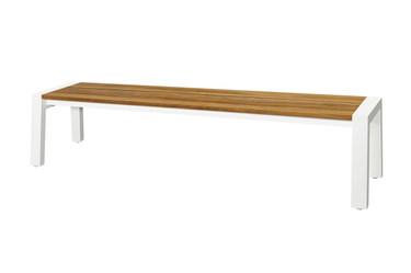"""BAIA Bench 80.5"""" - Recycled Teak, Aluminum"""