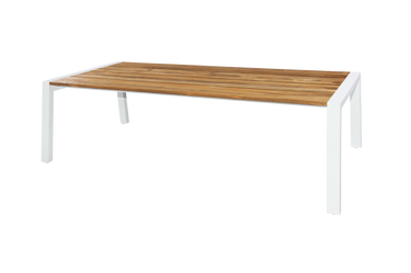 "BAIA Dining Table 94.5""L"" x 39W"" - Material: Teak, Aluminum (White)"