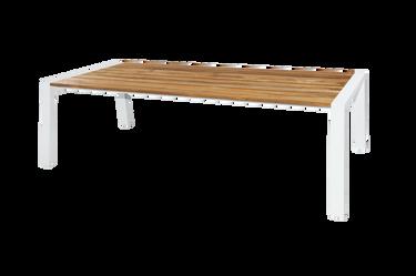 "BAIA Dining Table 94.5""L"" x 39W"" - Material: Teak, Aluminum (White)"