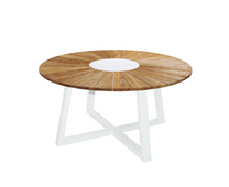 "BAIA Round Table 59"" - Material: Teak, Aluminum (White)"