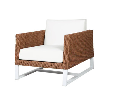 BAIA 1-Seater Sofa Armchair - Synthetic Wicker (Light), Aluminum (White), Sunbrella Canvas (White)