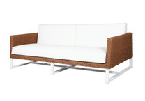 BAIA 2-Seater Sofa - Wicker (Light), Sunbrella Canvas (White), Aluminum