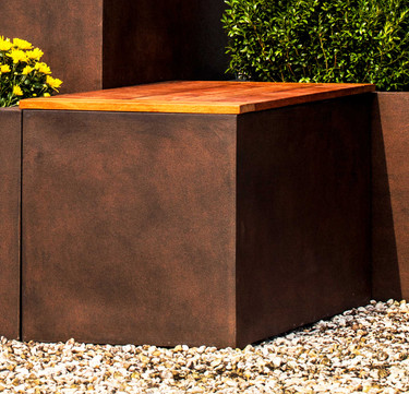 Modular Lite Square Planter - Material : Clay Composite - Finish : Rust Lite