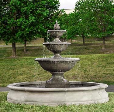 Monteros Fountain in Basin - Material : Cast Stone - Finish : Alpine Stone