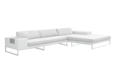Jane Left Hand Corner Sofa Sectional - Stainless Steel, White Wicker, White Sunbrella Canvas Cushion