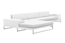 Jane Right Hand Corner Sofa Sectional - Stainless Steel, White Wicker, White Sunbrella Canvas Cushion