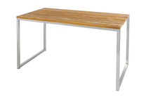 "OKO High Table 67"" x 35.5"" - Stainless Steel, Recycled Teak"