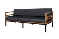 ZUDU lounge 3-seater - Reclaimed Teak, Black Powder Coated Aluminum, Sunbrella Canvas