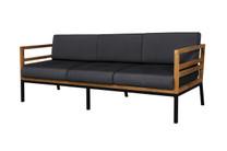 ZUDU lounge 3-seater - Reclaimed Teak, Black Powder Coated Aluminum, Sunbrella Canvas