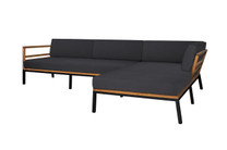 ZUDU Asymmetric Corner Sofa Left Hand Chaise - Reclaimed Teak, Black Powder Coated Aluminum, Sunbrella Canvas