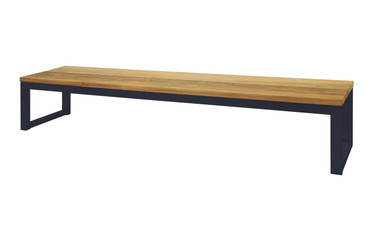 "OKO Bench 102.5"" - Powdercoated Stainless Steel, Recycled Teak"