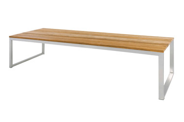 "ICON Dining Table 118"" x 39.5"" - Stainless Steel, Recycled Teak"