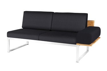 OKO Left Hand Sectional - Stainless Steel, Recycled Teak, Black Sunbrella Canvas (black), with Bolster Pillow