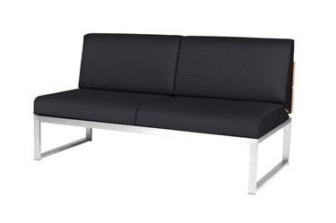 OKO Sectional 2-Seat - Stainless Steel, Recycled Teak, Sunbrella Canvas