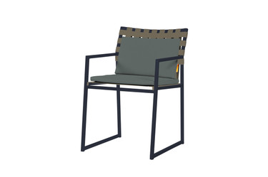 OKO Carver Chair - Powder-Coated Stainless Steel (black), Standard Batyline Seat Sling, Keops Webbing Back, Optional Cushion Set
