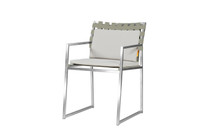 OKO Carver Chair - Stainless Steel, Standard Batyline Seat Sling, Keops Webbing Back, Optional Cushion Set