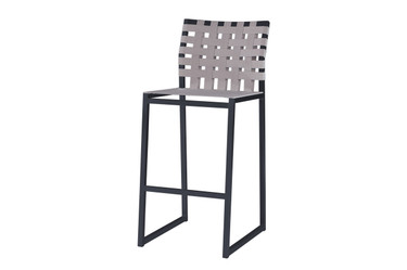 OKO Bar Chair - Powder-Coated Stainless Steel (black), Standard Batyline Seat Sling, Keops Webbing Back