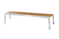 "BAIA Bench 80.5"" - stainless steel (hairline finish), recycled teak (brushed finish)"