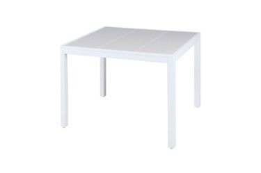"ALLUX Dining Table 39.5"" x 39.5"" - Powder-Coat Aluminum (white),  High Pressure Laminate (HPL)"