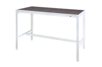 "ALLUX 59"" x 31.5"" Bar Table with HPL Top - Powder-Coat Aluminum (white),  High Pressure Laminate (slate)"