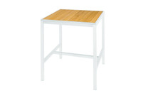 "ALLUX 31.5"" x 31.5"" Bar Table with Teak Top  - Powder-Coat Aluminum (white), Plantation Teak Straight Slats (smooth sanded)"