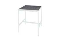 "ALLUX 1.5"" x 31.5"" Bar Table with HPL Top - Powder-Coat Aluminum (white),  High Pressure Laminate (slate)"