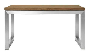 OKO Square Table  - Stainless Steel, Recycled Teak