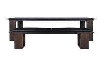 "AIKO Bench 86.5"" with AIKO Dining Table - Drift look teak legs (espresso), High Pressure Laminate Seat, Optional Stamskin Cushion Set (black)"