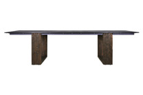 "AIKO 118"" x 38.5"" Dining Table (Palace Style) - Drift look teak legs (espresso), High Pressure Laminate Top"