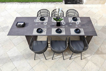 "AIKO 118"" x 38.5"" Dining Table (Butler Style) with AIKO Bench and BONO dining chairs - Drift look teak legs, High Pressure Laminate Top (slate)"