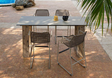 "AIKO Bar Table 79"" x 27.5"" with MANDA bar chairs - Drift look teak legs (natural), High Pressure Laminate Top (sandstone)"