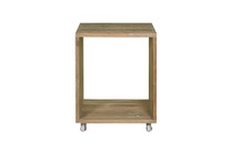 AIKO Rolling Table (Small) - Drift look teak (original), Stainless Steel Caster Wheels