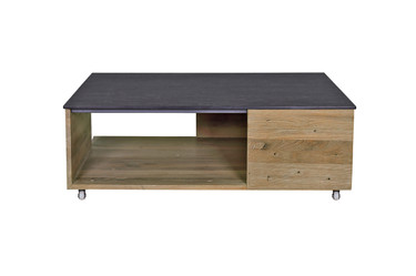 AIKO multi-fit rolling table - Drift look teak (original), High Pressure Laminate top (slate), Stainless Steel Caster Wheels