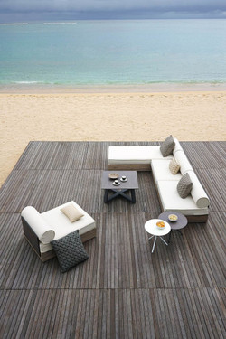 AIKO deep module armless with AIKO comfort module and square BONO side low table - Drift look teak (original), High Pressure Laminate (white), Stainless Steel Caster Wheels and connectors, Sunbrella cushions (white)