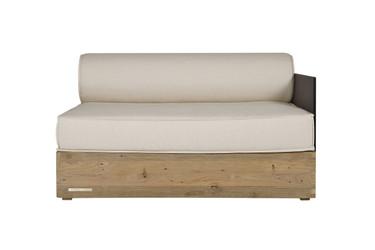 AIKO Comfort Module Left Arm - Drift-look teak legs (original), High Pressure Laminate (HPL) back/arm, Sunbrella cushions (white canvas)